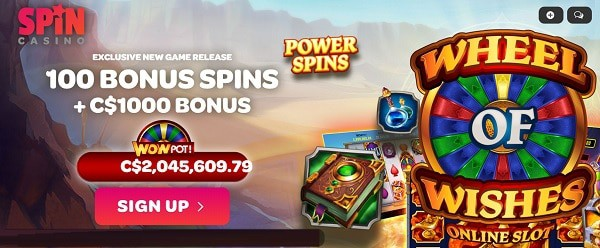 Spin Casino 100 free spins on Wheel of Wishes progressive jackpot and $1000 exclusive bonus