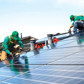 A SolarCity roof install in progress