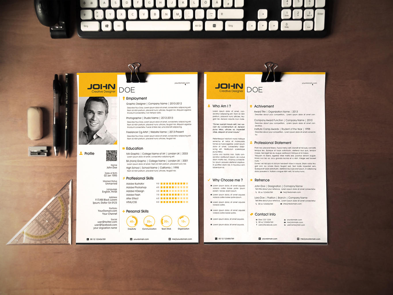 Envato Resume Templates Professional Resume Cv Design By Vicasso On Envato Studio