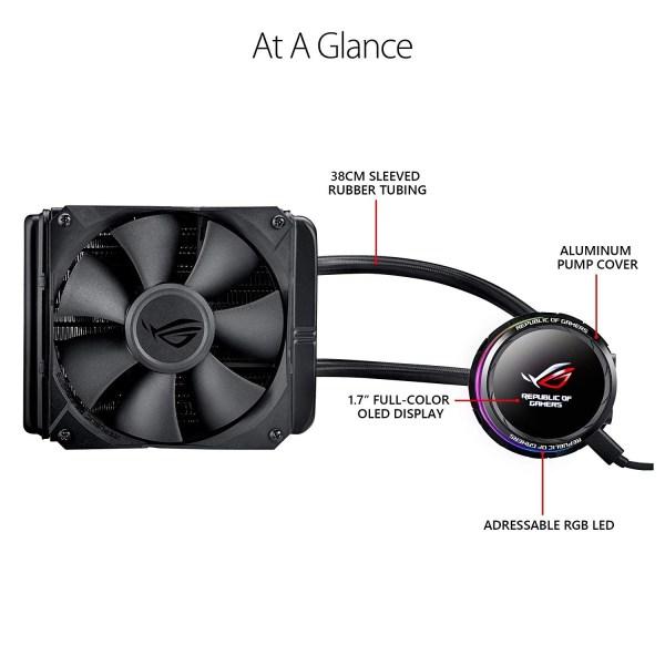 Asus Rog Ryuo 120 Rgb Aio Liquid Cpu Cooler 120mm Radiator 4-pin Pwm Fan With Livedash