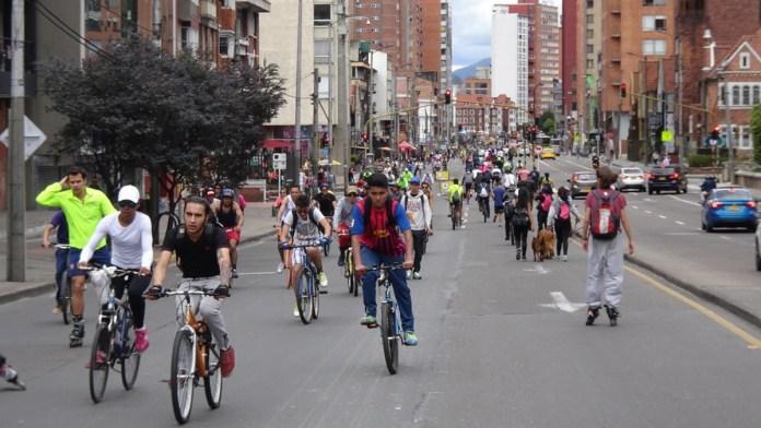Bogota Ciclovia and people riding bikes