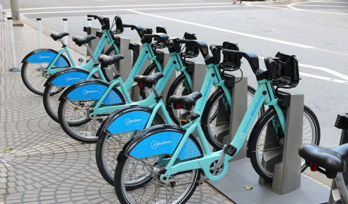These bikes in San Francisco's Bay Area were five of the 194,000 active share bikes and scooters across North America in 2019.