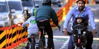 Pop up cycleways like this allow people to ride safely on roads that they would otherwise not use, especially with children. Photo credit: Transport for NSW website
