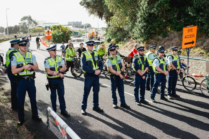 Police blocking the Auckland Bridge from cyclists