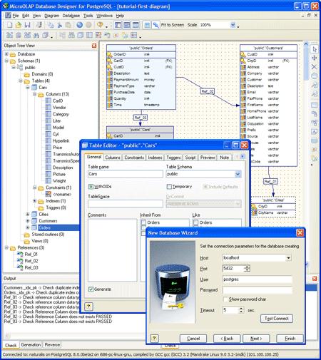 database entity relationship diagram tool relational visio microolap designer for postgresql: gui visual generation ...
