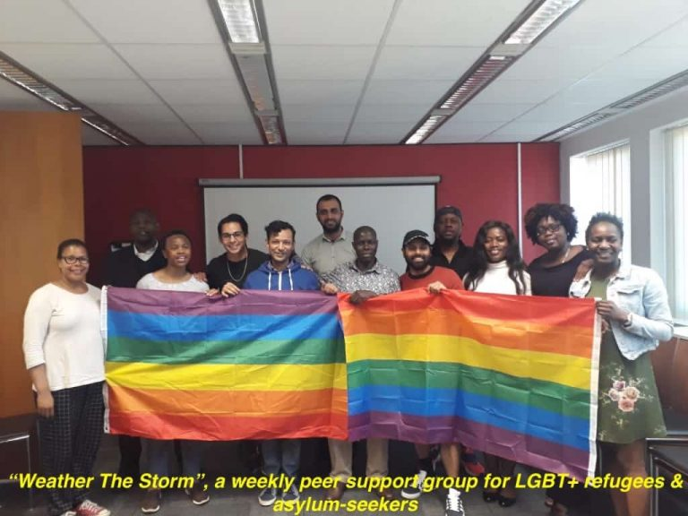 Weather the storm group with rainbow flag