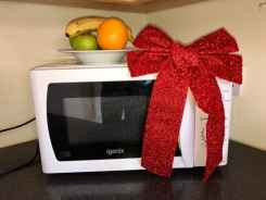 Microwave with Christmas bow