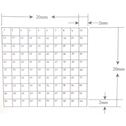 KR458 Grid Reticle 100 Squares 20mm x 20mm Indexed and