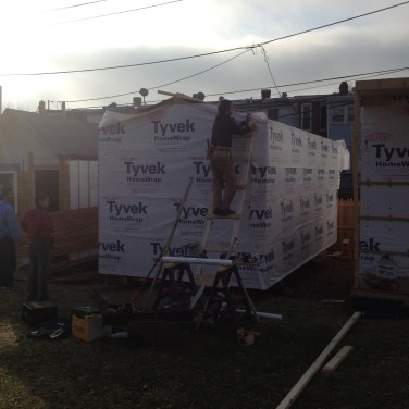 Tyvek wrapped around the house