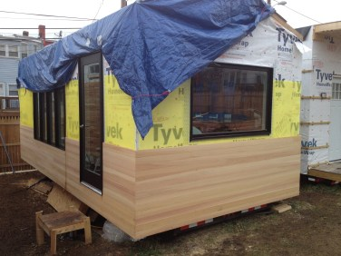 Minim house cypress siding installed