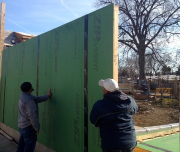 Day 2- putting the ZipSystem walls up (note no Tyvek needed!)