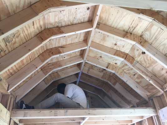An example of a loft with a gambrel roof (during construction) - Cardozo Academy of Construction and Design Tiny House Build (on display at Micro Showcase)