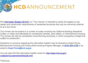 CA tiny house regulation announcement