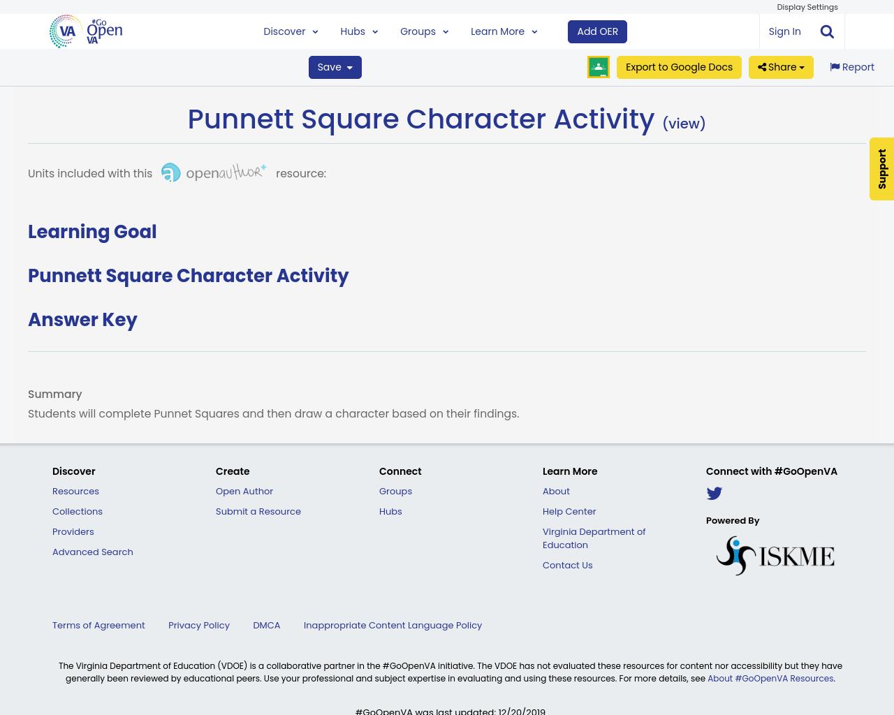 Punnett Square Character Activity
