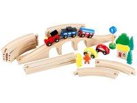 Playtastic Mittelgroes Holz-Eisenbahn-Set mit 29 Teilen