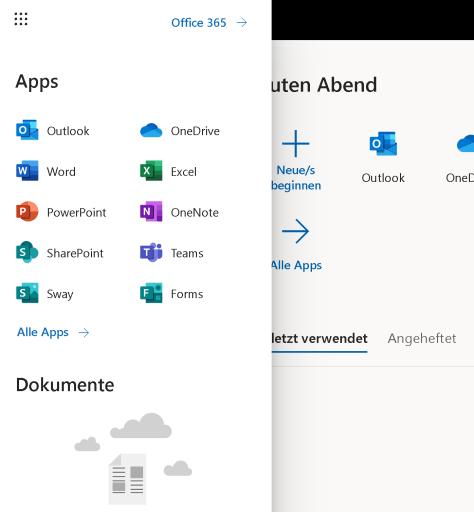 App-Menü im Web-Portal von Microsoft 365