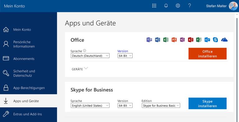 Office-Installation im Online-Portal
