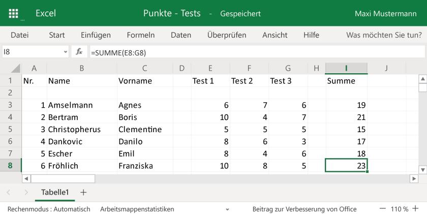 Automatisch addierte Punkte in der Excel-Tabelle