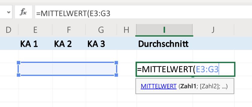 MITTELWERT-Funktion in Excel