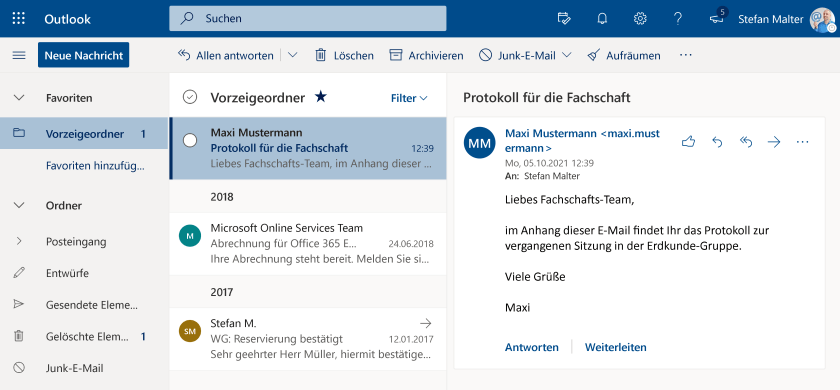 Outlook im Online-Portal