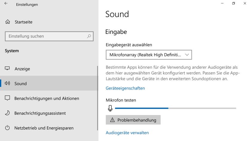 Sound-Einstellungen in Windows 10