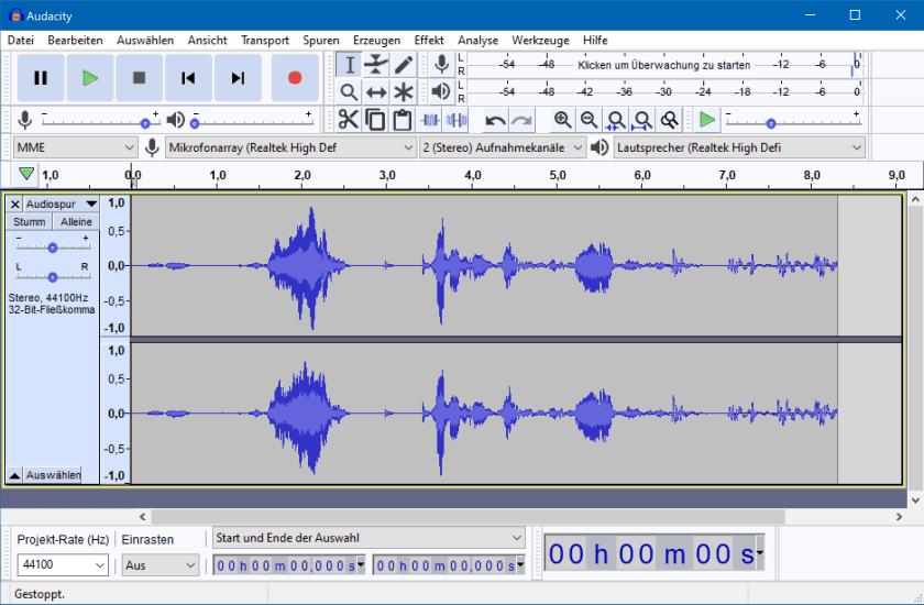 Audacity - freie Software für Audio-Projekte