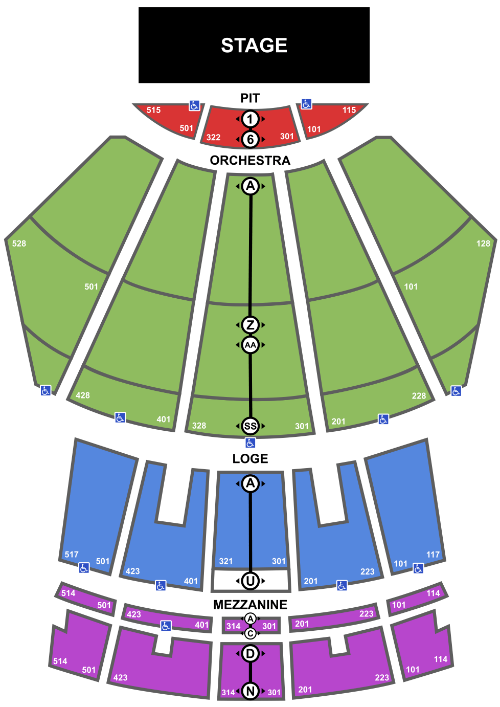 At T Center Seating Chart With Rows : center, seating, chart, Seating, Microsoft, Theater