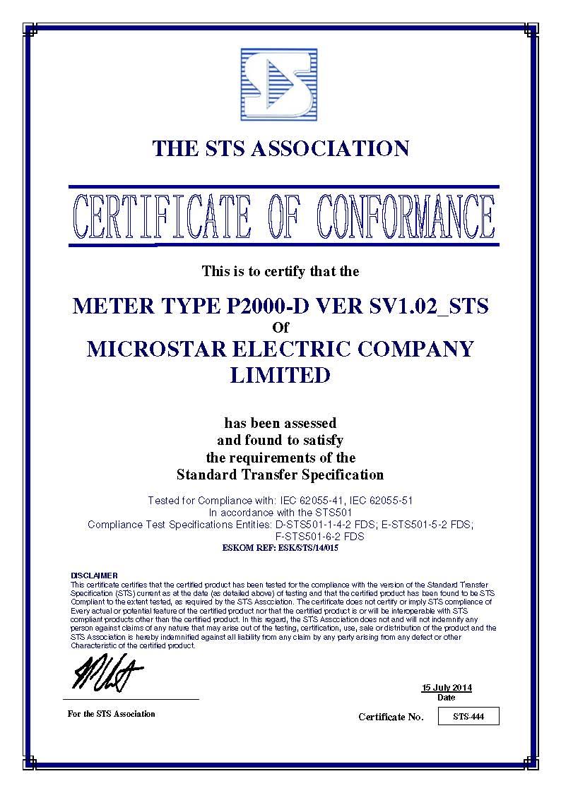 Microstar P2000-D Smart Meter STS Certificate