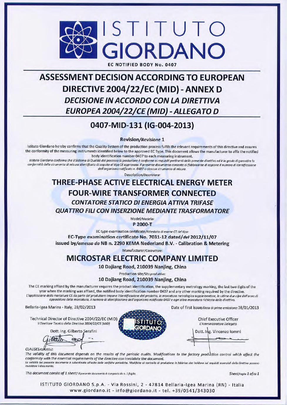 Microstar P2000-T Smart Meter MID Module D Certificate