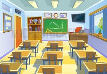 Empty classroom background in cartoon style Class room colorful interior with chalkboard desks and school supplies Vector Illustration for poster flyer or background Microstocker Pro