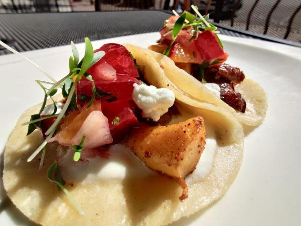Blackened King Trumpet Tacos with Stone Fruit Pico and Goat Cheese Crema