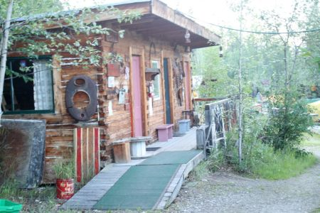 Our Cabin at the Yukon River Hostel - No power, no running water...