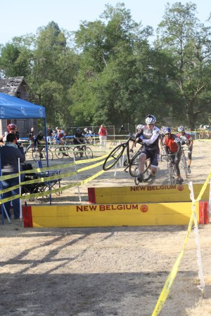Jumping barriers at my first CX Race!