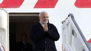 India's Prime Minister Narendra Modi Arrives in in the UK.
