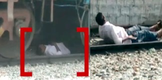 Telugu News goods train passes over person in anantapur video viral