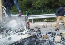 Telugu News, Driver Throws Out Cigarette But, Sets His Own Truck On Fire In China