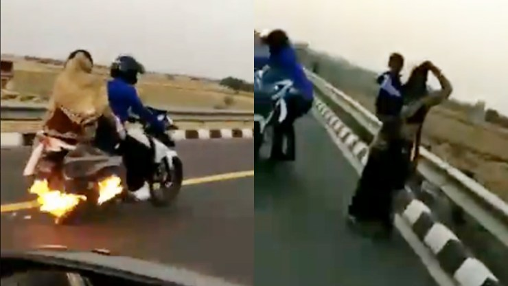 Uttar Pradesh police saves family who travelling on bike with fire accident on etah national high way