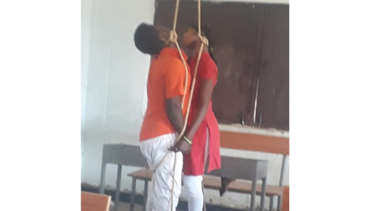 Lovers committed suicide in college.