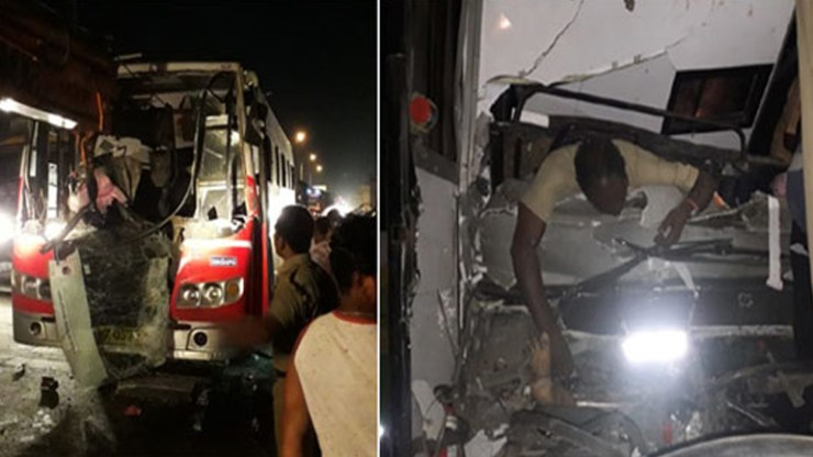 Road Accident At Panthangi Toll Plaza.. RTC Bus driver dead On The Spot.. 10 people Injured.