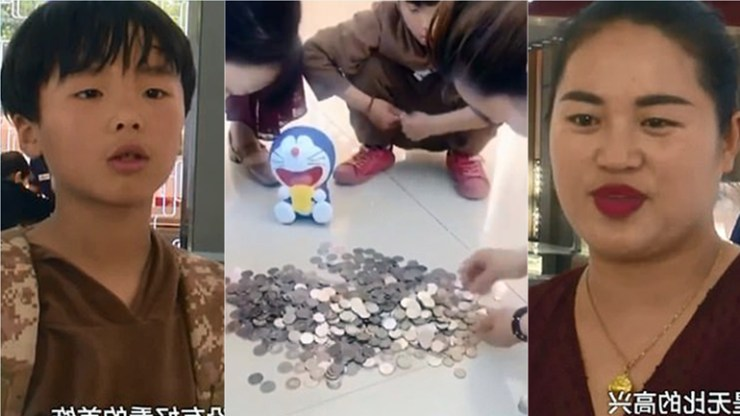 takes his piggy banks to a jeweller to buy a surprise gift for his mother