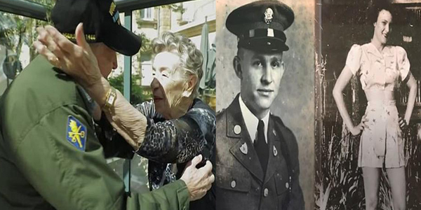 Ex American soldier reunited with first love he met during WW2 after 75 years..