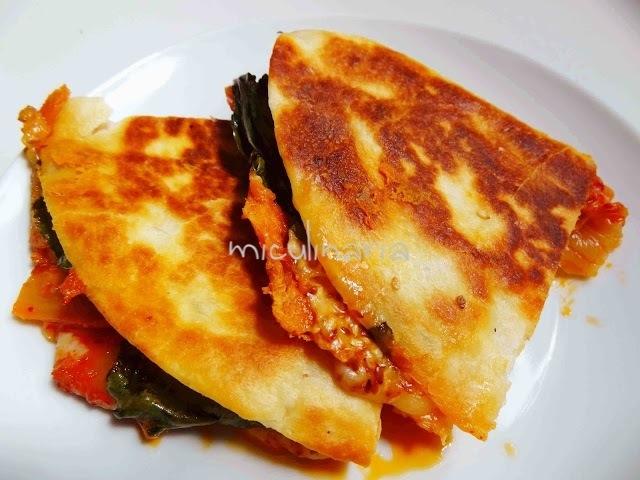 Quesadilla de kimchi cocina fusin coreano mexicana  Mi