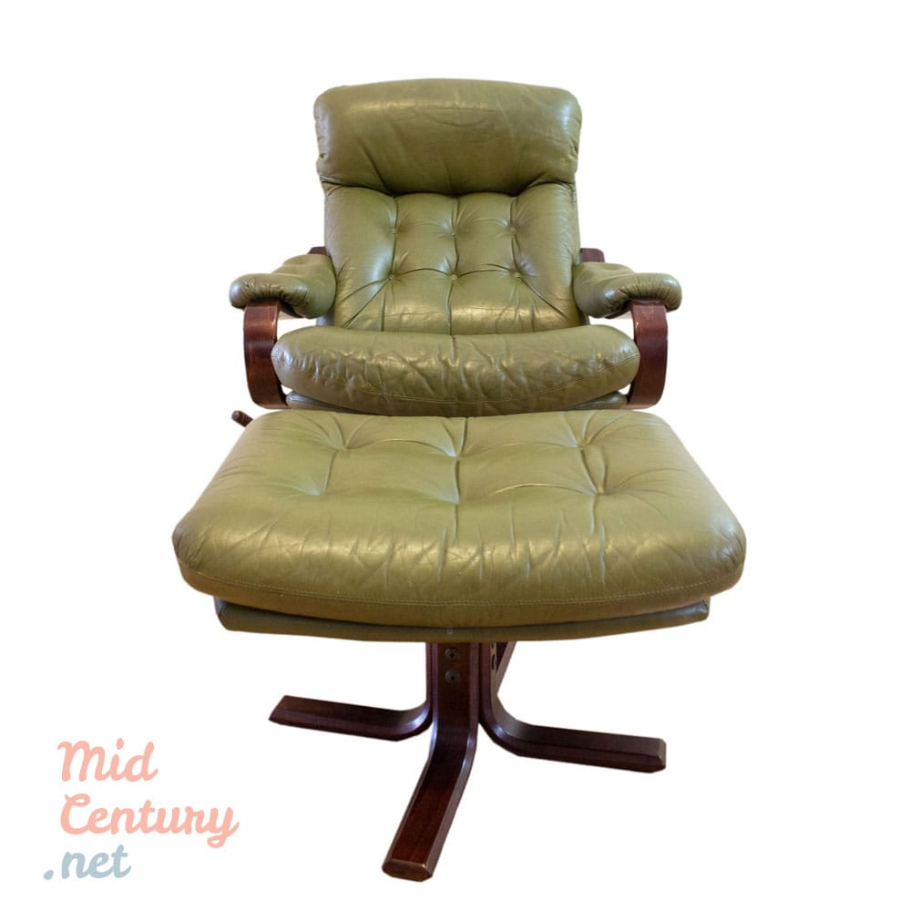 Leather lounge chair with ottoman  Mid
