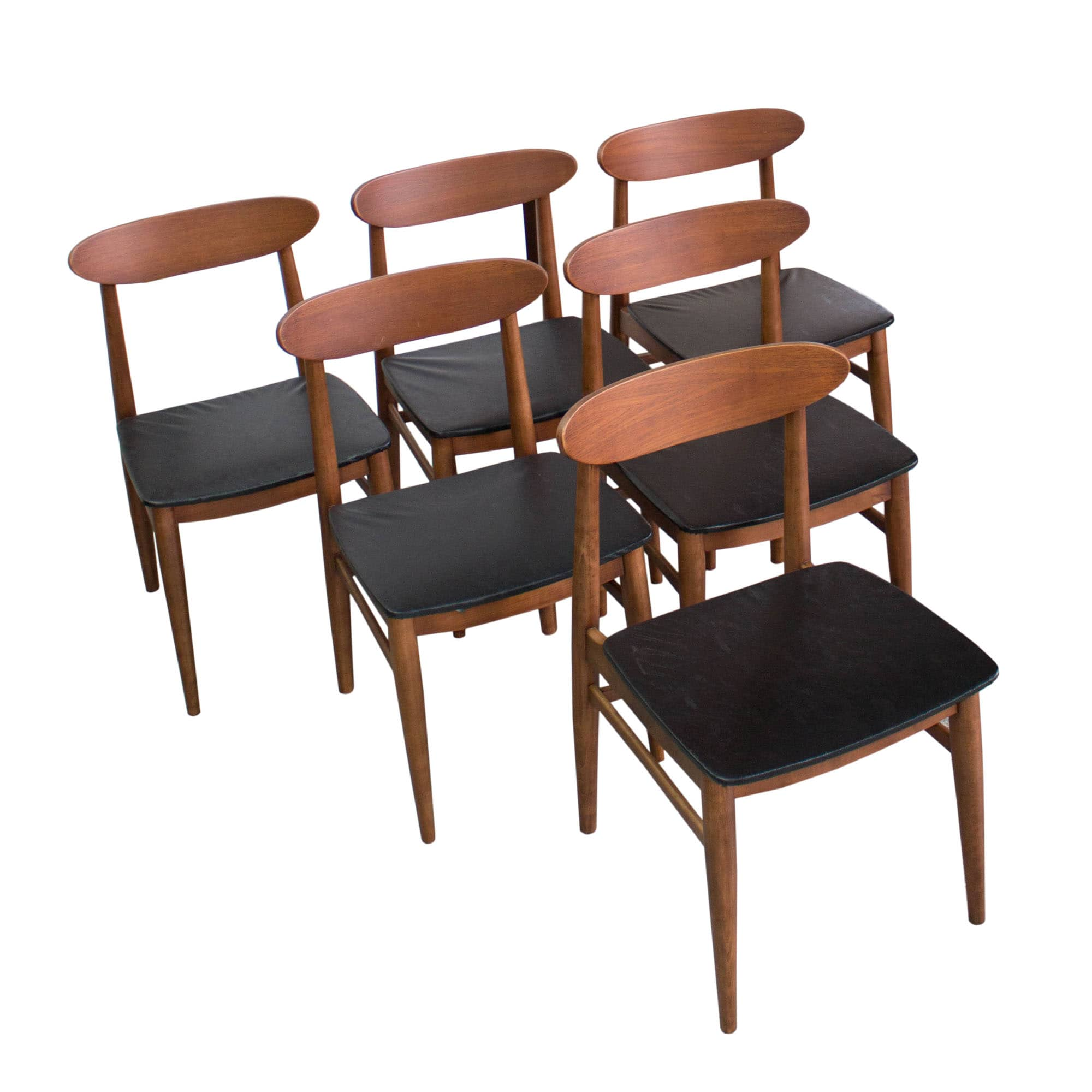 Set of 6 Danish teak dining chairs made in the 1960s  Mid