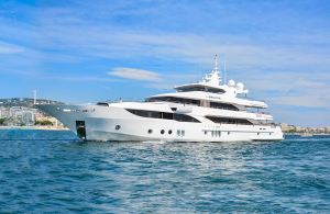 Gulf Craft's Flagship Majesty 155 entering the Cannes Port for the Cannes Yachting Festival.