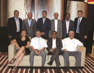 Standing: (L-R) Sajal Nanda, MD, Gulf Protek; Jorge Damasceno, GM, Bubble Dream Laundry; Mohammed Saleem Hussein, BDM, Reza Hygiene; Anil Shah, Director of Laundry Operations, Madinat Jumeirah; Fazlool Rahman Sheikh, Senior Manager-Laundry Operation, Butlers Dry Cleaning and Laundry Services; and Usman Tareen, GM, Butlers Dry Cleaning and Laundry Services LLC. Seated: (L-R) Roya Nouri, MD, Natronic International Inc.; Ali Reza, CEO, Natronic International Inc.; Chinmoy Chatterjee, Operations Manager, Linencraft – The Laundry; and Abderrahim Cedrati, GM, Burnus General Trading LLC.