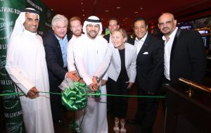 Mohammed Al Mazrooei, Assistant Managing Director, GGICO; Jonas Reinholdsson, CO Owner & Founder, O'Learys; Christian Wilhelmsson, General Manager, StarAgency Sport Management; Saeed Obaid Al Teneiji, Vice President – UAE Football Association; Christian Bellander (behind), CEO, O'Learys; Anette Nilsson Exner, Deputy Head of Mission, Swedish Embassy Mohamed Awadalla, CEO, TIME Hotels; Ahmed Ibrahim, Owner Representative, O'Learys Outlet.