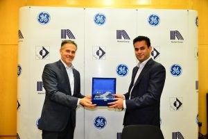 Hassan Mansha (right), Director & Chairman of the Board of Directors of Lalpir Power Ltd. and Pakgen Power Ltd. and Joe Anis, President & CEO of GE's Power Services business in the Middle East and Africa, at the ceremony to sign agreements whereby GE will provide its advanced digital industrial software solutions to Lalpir Power Ltd and Pakgen Power Ltd.