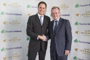 Tourism Ireland CEO, Niall Gibbons, and Peter Baumgartner, CEO of Etihad Airways, announce the incentive to over 60 travel agents at Sofitel Abu Dhabi Corniche.