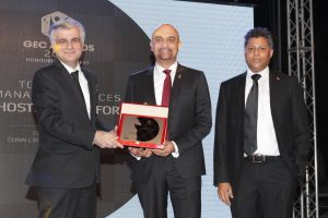 Yasser Zeineldin, CEO, eHosting DataFort (center) receiving the Top Managed Service Provider of the Year at the GEC Awards 2016